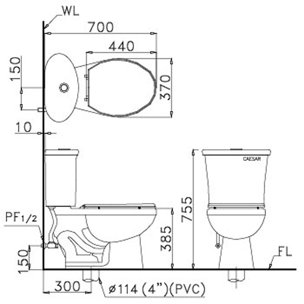 Bàn cầu 2 khối Caesar CT1328-30CM