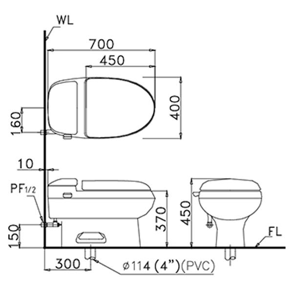 Sơ đồ lắp đặt Bàn cầu 1 khối Caesar C1357-30CM