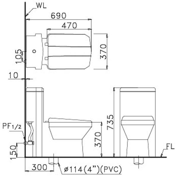 Bàn cầu 1 khối Caesar CD1347-30CM